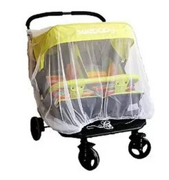 Wholesale Stroller For Twins Babies - Wholesale- Newborn twin Stroller Mosquito Net For Twins Baby By Pram Protector Fly Midge Insect Bug Cover Infants Twin Pushchair Net Bar
