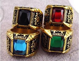 Wholesale Men Black Diamond Rings - Golden man titanium steel ring restoring ancient big diamond Stainless steel ring 8 colors are optional