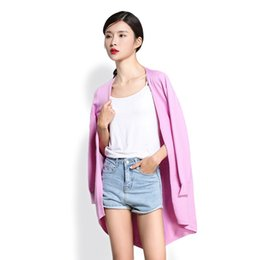 Wholesale Long Tails Jacket - Wholesale- 2017 Mid-long pocket no button open lappet cardigan tailed Fashion Women Wool Knitted Cardigan Sweater Jacket Femme Mander