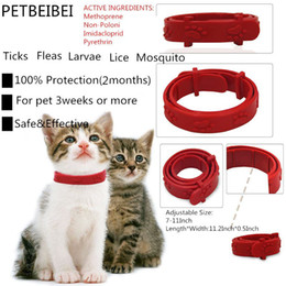 Wholesale Flea Collars - wholesale Hot Adjustable Pet Collar Cat Protection Neck Ring Flea Tick Mite Louse Remedy Coleira Para Gato for Free Shipping
