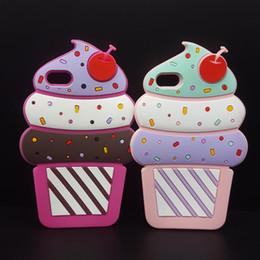 Étui cerise pour samsung en Ligne-Nouveau Noël Halloween cadeau 3D mignon Cherry Ice Cream étui en silicone souple Pour iPhone 5 5s SE 5C 6 7 6s plus 7 plus 4.7 5.5