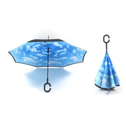 Wholesale Umbrella Uv Protection - Car Inverted Umbrellas Long-handle Double Layer Windproof UV Protection Self Standing Inside Out Reverse Rainy Sunny Umbrella C J Handle