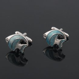 Wholesale Enamel T - 2016 New High Quality Blue Enamel Tropical Fish Cufflinks Animal Copper Cuff Link Mens Jewellery Gift T-shirt Parts GD0191