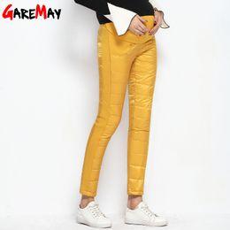 Wholesale Pantalones Mujer - Warm Down Pants For Women Winter High Waist Trousers Thickening Velvet Causa Pantalones Mujer Elastic Waist GAREMAY