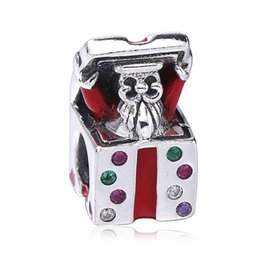 Wholesale Gift Boxes Fit For Bracelets - Authenic 925 Sterling Silver European Charms Christmas Gift Box Fit For Pandora Style Bracelets DIY Loose Charm
