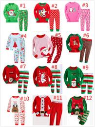 Wholesale Kids Winter Pjs - 2017 Baby Boys Girls Christmas Pajamas Kids Long Sleeve Xmas PJS Cotton Pajamas Children Autumn Clothing Set