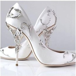 Wholesale Low Cut Leather Pumps - 2017 Ornate Filigree Leaf White Women Pumps Chic Satin Stiletto Heels Low cut Vamp Pointed Toe High Heel Shoes