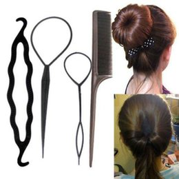 Wholesale Braided Hair Headband - 4pcs set Fashion Hair Twist Styling Clip Stick Bun Maker Braid Tool Hair Band Headband Hair Accessories