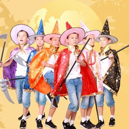 Wholesale Kids Fancy Dress Costumes Boys - Children Halloween Costumes Witch Wizard Cloak Gown Robe and Hat Cap Fancy Prop for Children Boys Girls Costume Dress Kids Party