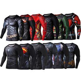 Wholesale Batman Superman Shirts - Free Shipping Heroes Superman Batman US Captain Tights Men Long Sleeve Sports Fitness Wear Running Slim Slim Shirt T-Shirt