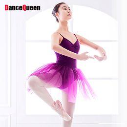 Wholesale Professional Dance Leotards - 2017 New Professional Ballet Tutu Purple Ballet Leotards For Women Performance Dance Costumes Roupa Infantil Feminina JDQ10001