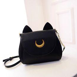 Wholesale Limited Phone - Wholesale-2016 Spring Summer Limited Sailor Moon Bag Ladies Handbag Black White Cat Luna Moon Women Messenger Crossbody Bag