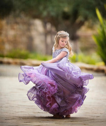 Wholesale Dramatic Short Dress - Cute Lilac Flower Girl Dresses Line Floor Length Graduation Dresses Children 2017 Lace Sleeves Cap Toddlers Dramatic Lavender Dress
