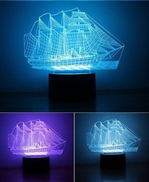 Wholesale China Smart Products - Product Name: 2017 NEW 3D night light usb creative sailboat LED light 7 colors smart home environmental crafts gifts