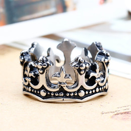 Wholesale Cool Crowns - Cool Punk Crown Rings 316L Stainless Steel Jewelry for Men Hot Popular Band Party Crown Rings