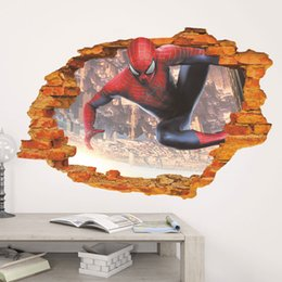 Wholesale Men Wall Decor - New 3D Stereo Spider-Man Wall Paper Hot Sale Children's Room Bedroom Background Wall Stickers Home Decor