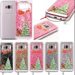 Wholesale Now Cases - Christmas Gift Tree Bling Liquid Hard Plastic now Santa Claus Quicksand Glitter Sparkle Cover Dynamic Case For Galaxy S8 S8 Plus
