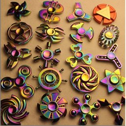 Wholesale Wholesale Spinning - 2017 Rainbow Fidget Spinner Hand Spinners Finger EDC Toys 3-4 Mins Spins Tri-Spinner Spiral Gyro EDC Fidget With Box BY DHL