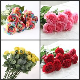 Wholesale Green Floral Bouquet - 10pcs lot Decor Rose Artificial Flowers Silk Flowers Floral Latex Real Touch Rose Wedding Bouquet Home Party Design Flowers
