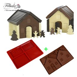 Wholesale Diy House Tools - Baking Tools DIY 3D Christmas Gingerbread House Set 2PCS Silicone Mold Chocolate Cake Mould For Make Biscuits Cake Decorating