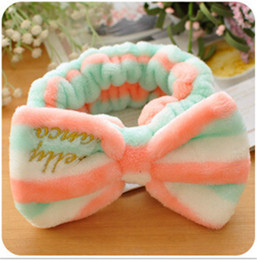 Wholesale Bow Elastic Stretch Headband - Women Fashion Lovely Soft Carol Fleece Bowknot Bow Wash Face Makeup SPA Stretch Cosmetic Shower Elastic Hair Band Hairlace Headband