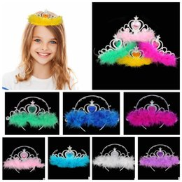 Wholesale Crown Hair Band For Girls - Kids Princess Crown Hair band Accessories Rhinestone Hair Hoop For Party crown Girls feather Hair Accessories 8colors KKA3548