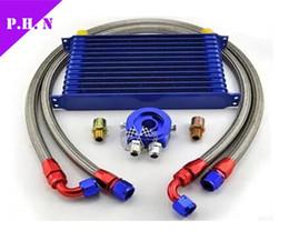 Wholesale Oil Cooler Row - universal Trust Type Oil Cooler kit 10AN Engine Oil Cooler 10AN Oil Cooler KITCore 7 rows-10rows- 13rows-15rows-19 rows-Blue^black Color