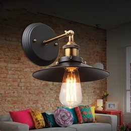 Wholesale Metal Sconces Light - Vintage Adjustable Head Wall Sconces RH Loft Retro Industrial Wall Lamps Metal Shade Wall Mounted Light Bedroom Stair Balcony Aisle Bar Lamp