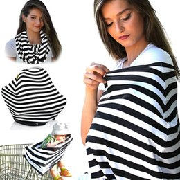 Wholesale Car Blankets - Multi-Use Stretchy Cotton Baby Nursing Breastfeeding Privacy Cover Scarf Blanket Stripe Infinity Scarf Baby Car Seat Cover nursing cover
