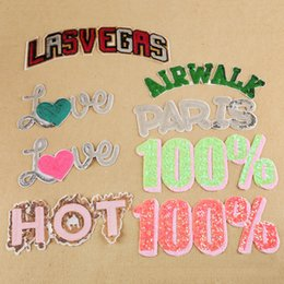 Wholesale Embroidered Patches Letters - 10pcs Letters Patch For Clothing Sequin Patches parches ropa Glitter Embroidered Jeans Jacket Fabric Patchwork Appliques Clothes Accessories