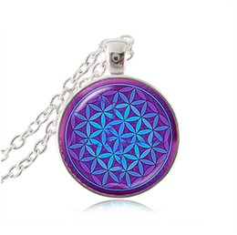 Wholesale Zen Jewelry Wholesale - Wholesale-purple blue OM pendant necklace flower of life jewelry mandala statement necklace long necklaces Yoga jewelry Zen jewellery