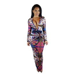 Wholesale Tattoo V - New Arrival Long Sleeve Tribal Tattoo Geometric Printed Dress Sexy Deep V Neck Bodycon Bandage Club Party Maxi Dresses for Women