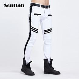 Wholesale stylish stretch pants - Wholesale- SOULLAB black white contrast color fashion stylish men pop bottoms pants slim fit skinny stretch zipper pocket cool rap urban