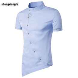 Wholesale Dress Shirt Mens Clothing - Wholesale- 2017 Fashion Mens Shirt Cotton embroidery High Quality Dress Shirts Men Casual Slim Fit short Sleeve Shirt Social Men Clothes