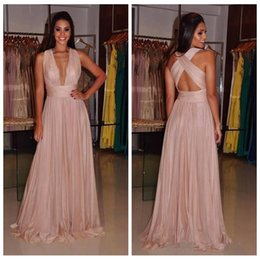 Wholesale Cheap Cross Charms - Charming Pink Deep V-Neck Sexy Prom Dresses 2018 Cross Back A Line Long Evening Wear Cheap Party Gowns