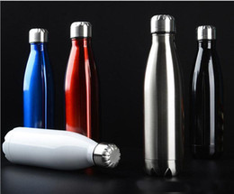 Wholesale Wholesale Black Bottles - New stainless steel sports water bottle Cycling Camping Bicycle Sports stainless steel vacuum insulation Cup 500ml Great b535