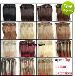 Wholesale Hair Extensions Dhl Free - Grade 7A-- 7pcs set  70g set Indian human hair Color #1B,2, 4,14,24,27,60,613,P14 613 Clip In Hair Extensions, free dhl