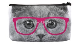 Wholesale Cat Pattern Bag - Wholesale- Gray Lovely Big Cat Face with Fuschia Glasses Pattern Print Custom Small Cosmetic Bag Wristlet hand bag