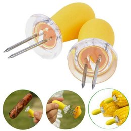 Wholesale Yellow Dog Coat - ABS + Stainless Steel Corn Holders Skewers Prongs Jumbo Corn On The Cob Holders Hot Dog Meat Forks Kitchen BBQ Accessories