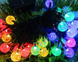 Wholesale Blue Bead Led Light - Holiday Party Round Tree Solar LED string Light 30LED White Pink Yellow RGB Waterproof bubble beads christmas led strip