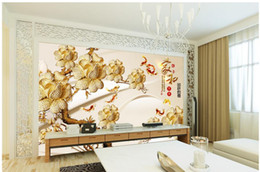 Carving orchid chinese jiuyu tv backdrop mural 3d wallpaper 3d wall papers for tv backdrop