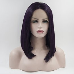 Wholesale Wig Supplies Free Shipping - Factory supply violet short bob synthetic lace front wigs heat resistant synthetic lace frontal wigs for women free shipping