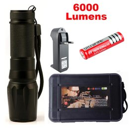Wholesale Chargers For Ultrafire Batteries - 1 Set X800 LED Flashlight 6000lumen cree xm-T6 zoomable led torch aluminum flashlights For Camping +18650 battery +Charger G700