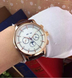 Wholesale Date Night Dresses - New style sky moon luxury watch pp mens watches gold day and night full function high quality leather band dress limited men's wristwatches