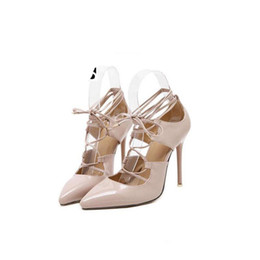 Wholesale White Roman Style High Heels - New Style Wedding Bridal bridesmaid shoes gladiator roman lace up strappy caged cut out hollow pumps sandals high heel wedding party shoes