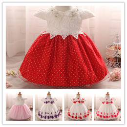 Wholesale Infant Orange Summer Dresses - Baby Girls Pearls Lace Princess Ball Gown Flower Embroidery Baptism Dress Infants Flower girls dress 3sizes for 0-2T