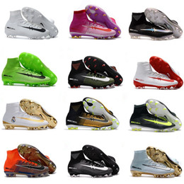 Wholesale Kids Lacing Tops - High Top Mens Kids Soccer Shoes Mercurial CR7 Superfly 5 FG Boys Football Boots Magista Obra 2 Women Youth Soccer Cleats Cristiano Ronaldo