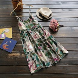 Wholesale Chinese Style Sexy Dress - 2018 summer national flower printed cotton short dress ohs style Chinese hot sleeveless dress strapless sexy mini dresses