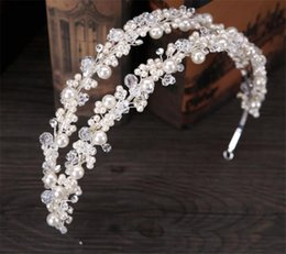 Wholesale Bridal Headress Accessories - Wedding Bridal Pearl Crown Tiara Headband Headpiece Hair Accessories Jewelry Crystal Rhinestone Hair Band Silver Headband Double Headress