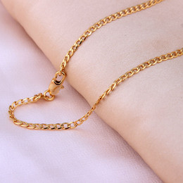 Wholesale 26 Inch Necklace Chain - Gold plated Chains Necklace For Men chain length 16 18 20 22 24 26 28 30 inch 2mm Costome Accessories Jewelry wholesale